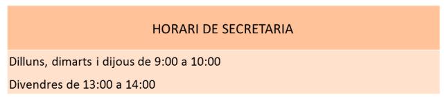 Horari secretaria